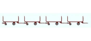 Train électrique : REE XB-013 - Set de 4 Chariots tube métal,Ep III-IV brun des PTT