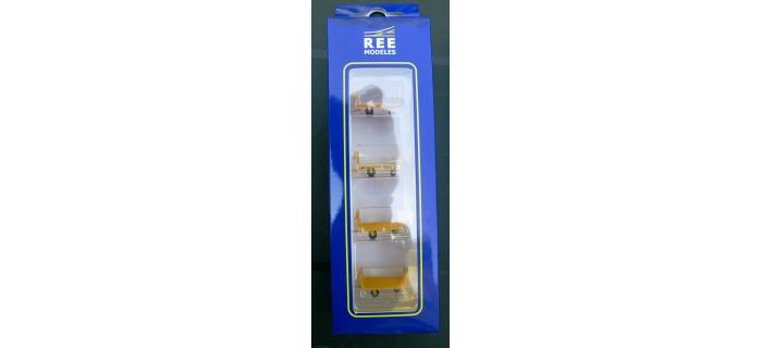Train électrique : REE XB-029 - Set de 4 chariots de poste en tubes métal - jaune marquage hirondelle Ep. IV