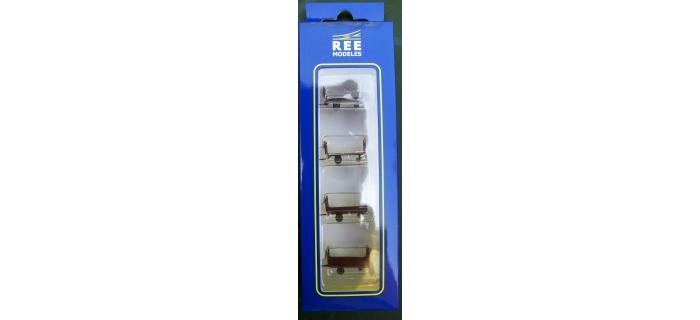 Train électrique : REE XB-030 - Set de 4 chariots de poste en tubes métal - Bordeau marquage PTT Ep. III-IV