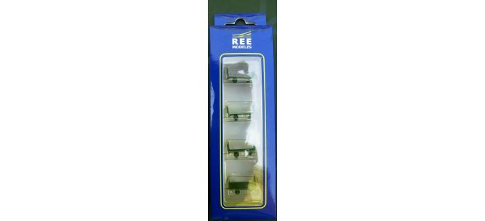 Train électrique : REE XB-031 - Set de 4 chariots de poste en tubes métal - Vert et jaune Marquage SNCF Ep. IV-V
