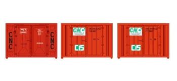 Train électrique : REE XB-034 - Set de 3 Containers CADRE 72 (3 orange CNC)