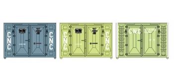 Train électrique : REE XB-035 - Set de 3 Containers CADRE 72 (1 bleu et 2 verts CNC)