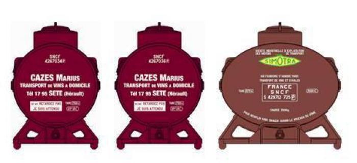 Train électrique : REE XB-037 - Set de 3 Containers CITERNE (2 Cazes et 1 Simotra)