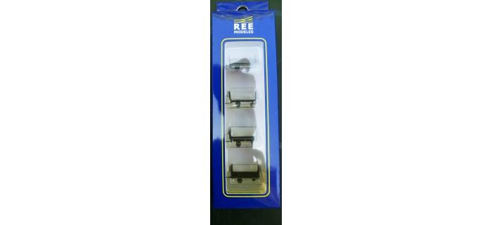 Train électrique : REE XB-040 - Set de 4 chariots de poste en tubes métal - Vert + marquage rond Ep. III-IV