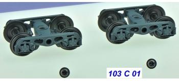 Train électrique : Set de 2 Bogies Y23 M - 4 Boites ISNR - Gris moyen