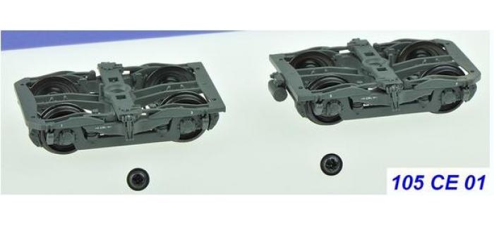 Train électrique : REE XB-105-CE-01 Set de 2 Bogies Y24 - 4 boites SKF - Gris ardoise + 1 dynamo