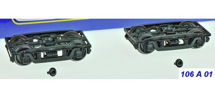 Train électrique : REE XB-106-A-01 - Set de 2 Bogies Y2 - 4 boites à coussinet - Noir