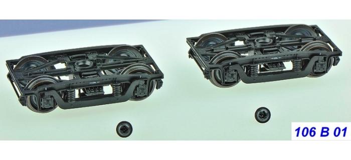 Train électrique : REE XB-106-B-01 - Set de 2 Bogies Y2 - 4 boites SKF - Noir