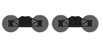 Train électrique : XB109-H-01 - Set de 2 Bogies Diamond TP Noirs, Roues Pleines