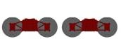 Train électrique : XB109-H-02 - Set de 2 Bogies Diamond TP Bruns, Roues Pleines
