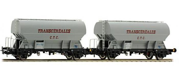 Train électrique : Set de 2 wagons trémies Transcéréales CTC, SNCF, chassis foncé