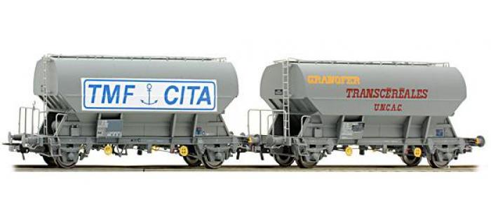 Train électrique : SUDEXPRESS SU787010 - Set de 2 wagons trémies Transcéréales UNAC et TMF-CITA SNCF