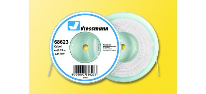 Cable pour modélisme ferroviaire : VIESSMANN VIE68623 - Fil électrique blanc