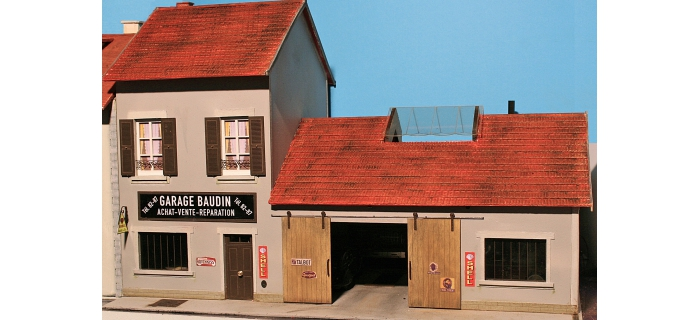 garage am nag clair avec v hicules abe836 abe maquettes de batiments easy miniatures. Black Bedroom Furniture Sets. Home Design Ideas