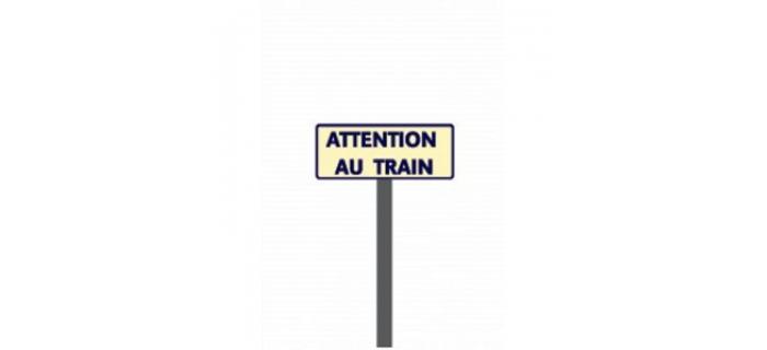 Train électrique : ABE105 - Panneau routier attention au train