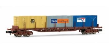Wagon plat de la RENFE, chargé de 3 containers