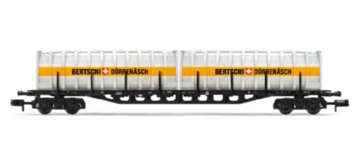 Wagon plat Sgis 716 DB,chargé de 2 containers de 30 pieds