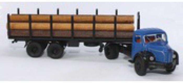 Modélisme ferroviaire : SAI 2582 - Semi-remorque avec tracteur Berliet TLR 8 bleu clair, avec remorque transport de grumes et grumes