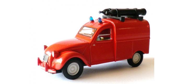 Train électrique : SAI 2048 - Citroën 2 CV Fourgonnette 1961 AZU Pompiers
