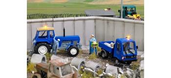 BU5616 - Tracteur Fortschritt et Multicar avec gyrophares jaunes - Busch