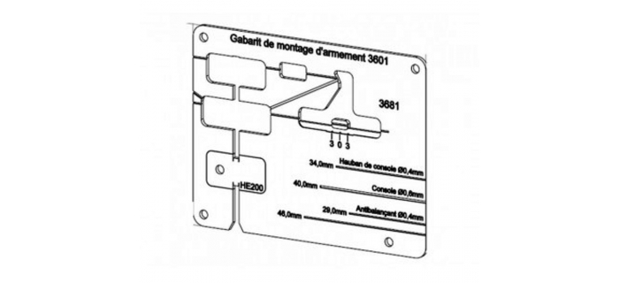 DECA3681 - Gabarit de montage pour les différentes variantes du poteau caténaire simple 3601 - Decapod
