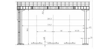 DECA4130 - Portique riveté pour 3 voies (poutre de 17m50) - Decapod