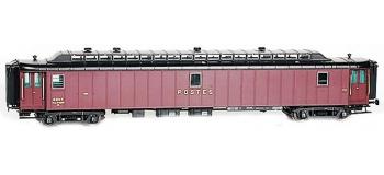 Train électrique :  LS MODEL -LSM40408 - Voiture OCEM PAyi, brun PTT, toit noir SNCF, Ep. III
