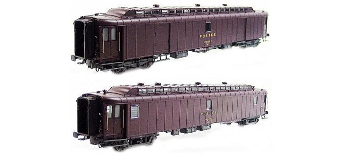 Train électrique :  LS MODEL -LSM40413 - Coffret de 2 voitures PTT livrée brun SNCF, Ep. IV