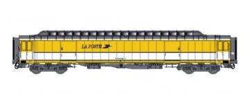 Train électrique :  LS MODEL -LSM40418 - Voiture OCEM livrée jaune/blanc, toit gris, logo