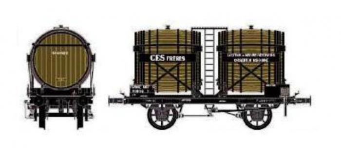 Train électrique : LS MODEL LSM30553 - Wagon bi-foudres sans guérite, brun, NORD