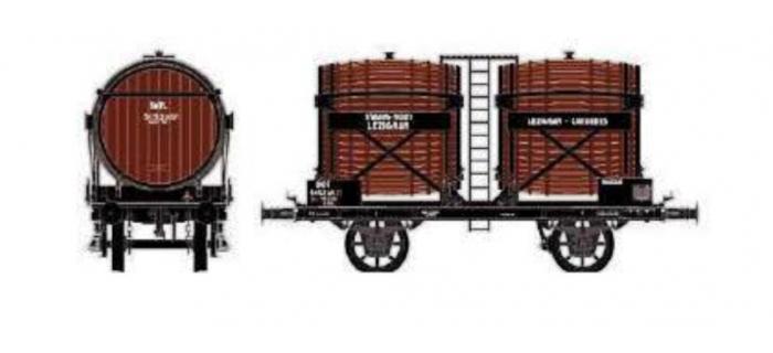 Train électrique : LS MODEL LSM30556 - Wagon bi-foudres sans guérite, brun,