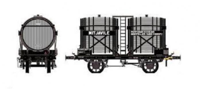 Train électrique :  LS MODEL LSM30558 - Wagon bi-foudres sans guérite, gris,