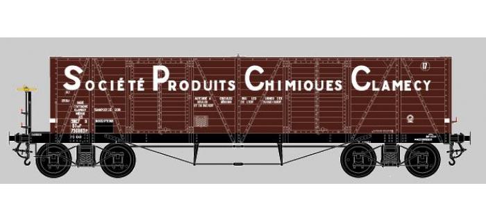 Modélisme ferroviaire : COLLECTION R37-HO43001 - Coffret de 2 wagons tombereaux «Clamecy » Ep. III Société Produits Chimiques Clamecy