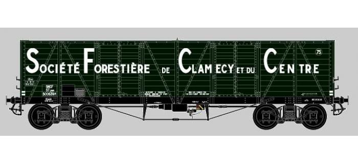 Modélisme ferroviaire : COLLECTION R37-HO43003 - Coffret de 2 wagons tombereaux «Clamecy » Ep. III Société Forrestière de Clamecy et du Centre