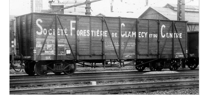 COLLECTION R37-HO43003 - Coffret de 2 wagons tombereaux «Clamecy » Ep. III Société Forrestière de Clamecy et du Centre