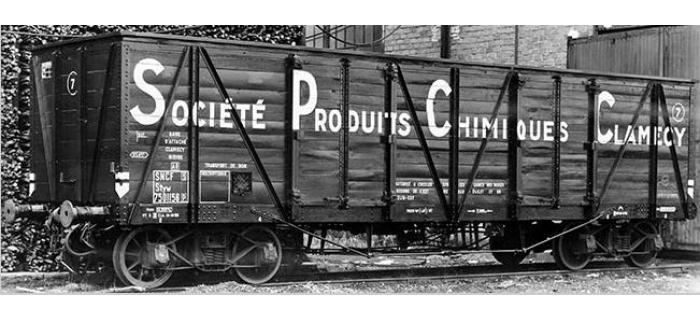 Modélisme ferroviaire : COLLECTION R37-HO43002 - Coffret de 2 wagons tombereaux «Clamecy » Ep. III Société Produits Chimiques Clamecy