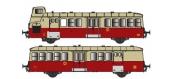 Modélisme ferroviaire : Collection R37-HO41004S - XBD 5606 et remorque XRBD 9204 version à faces lisses, DCC, dépôt Annemasse (rouge crème) Ep IIIa