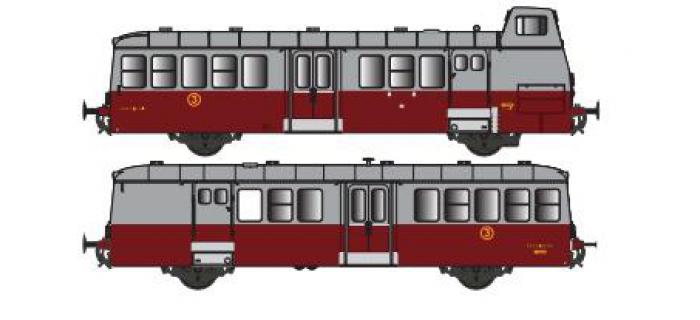 Modélisme ferroviaire : Collection R37-HO41003S - X 5614 et remorques XR 9207 version à faces lisses, DCC, dépôt Le Blanc (rouge rubis) Ep IIIa