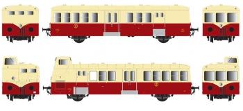 Modélisme ferroviaire : R37 Collection R37-HO41007 - XBD 5623 et remorques XRBD 9222 version à faces lisses, dépôt Nîmes (rouge crème) Ep IIIc
