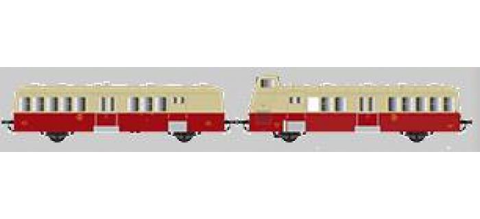 Collection R37-HO41008S - Autorail XBD 5637 et remorque XRBD 9235 version à faces ondulées, DCC, dépôt de Bourges (rouge crème origine) Ep IIIb