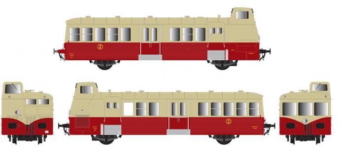 Modélisme ferroviaire : R37 Collection R37-HO41010S - Autorail X BD 5649 version à faces ondulées, DCC, dépôt de Montpellier (rouge crème origine) Ep IIIb