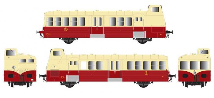 Modélisme ferroviaire : R37 Collection R37-HO41012S - Autorail X BD 5656 version à faces ondulées, DCC, dépôt de Nîmes (rouge crème) Ep IIIc