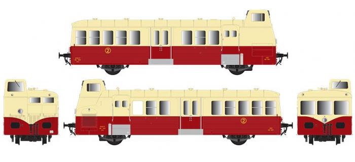 Modélisme ferroviaire : R37 Collection R37-HO41011 - Autorail X BD 5657 version à faces ondulées, dépôt d'Agen (rouge crème) Ep IIIc