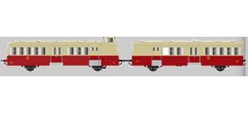 Modélisme ferroviaire : Collection R37-HO41009S - XBD 5658 et remorque XRBD 9240 version à faces ondulées, DCC, dépôt Annemasse (rouge crème origine) Ep IIIb