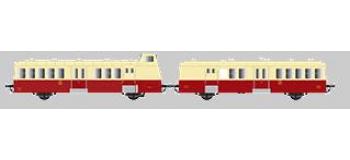 Modélisme ferroviaire : R37 Collection R37-HO41013 - X BD 5660 et remorques XR BD 9240 version à faces ondulées, dépôt de Toulouse (rouge crème) Ep IIIc