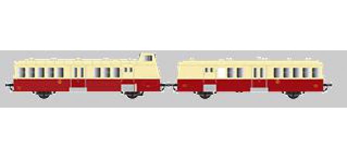 Modélisme ferroviaire : Collection R37-HO41013S - X BD 5660 et remorque XR BD 9210 version à faces ondulées, DCC, dépôt de toulouse (rouge crème) Ep IIIc