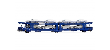 Modélisme ferroviaire : Electrotren EL6534 - Wagon porte autos double niveaux TRANSFERA SNCF avec 8 véhicules bachés