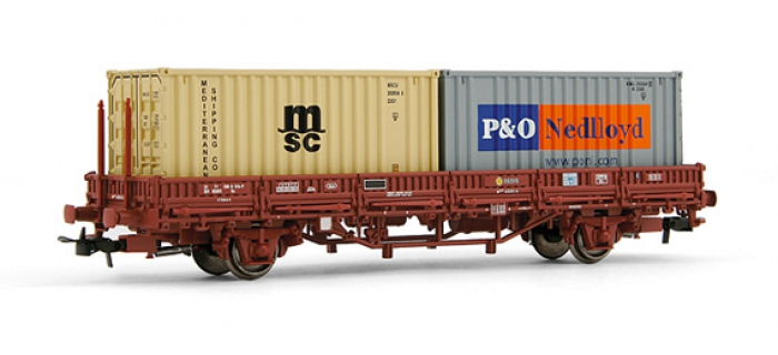 electrotren EL1446 Wagon plat, type Ks, avec 2 containers, RENFE