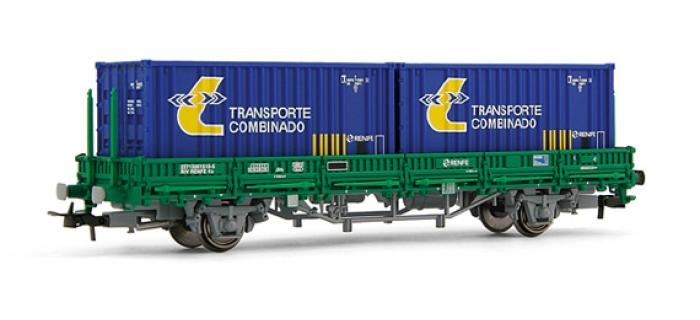 electrotren EL1569 Wagon plat, type Ks, avec 2 containers, Cargas RENFE