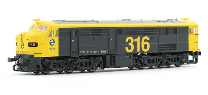electrotren EL2404S Locomotive Diesel 1601, Jaune et Grise, RENFE